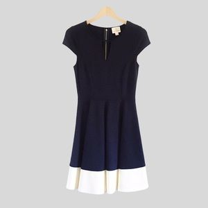 Julie Brown NYC Navy & Ivory Pleated Ponte Dress